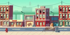 Buy Dirty City Street Empty Ghetto Slum Neighborhood by vectorpocket on GraphicRiver. Dirty city street, empty ghetto slum neighborhood area with poor houses buildings with scribbled walls stand at roads. Episode Backgrounds, Anime Backgrounds Wallpapers, Street Background, Cartoon Background, Animation Background, Building Icon, House Building, Bg Design, Graffiti