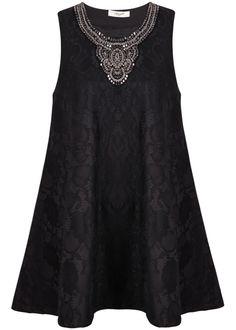 Vestido suelto cuentas encaje sin manga-negro 16.52