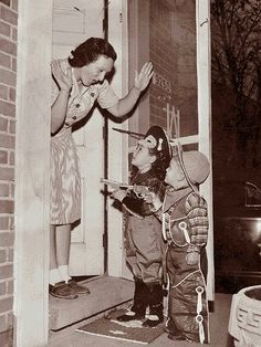 I want to take a picture of my children trick-or-treating at my mom's doorstep every year, then have an antiqued line of photos in my hallway frames for the Halloween season. :)