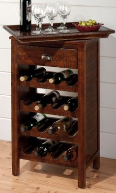 Wine rack table // The top come off and becomes a tray! Clever. #furniture_design