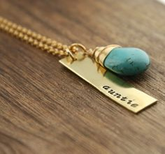 Aunt Necklace.  A perfect gift for aunt or sister.  A fun way to announce pregnancy. www.sierrametaldesign.com $25