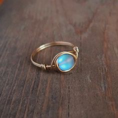 Small Green Blue Aurora Borealis Ring  unique ring  by littlestgem