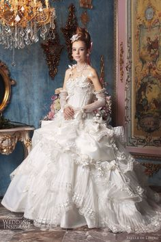 Stella De Libero: can we say wedding gown?! Except far more beautiful than anything I'd seen or dreamed of at the time I was getting married...good thing too! Or I'd have gone nuts not being able to afford such a beautiful dress!