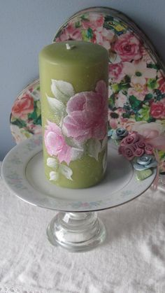 Shabby Chic Sage GREEN 6 PILLAR Candle Hand by RoseChicFriends, $13.99