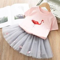Years Girls Clothing Sets 2019 Summer Cute Princess Girl Flamingo T- Shirt + Gauze Dress Set Children Clothing 8 Years Girl Dress, Dresses Kids Girl, Little Dresses, Flamingo T Shirt, Flamingo Dress, Flamingo Top, Flamingo Print, Dress Outfits, Kids Outfits