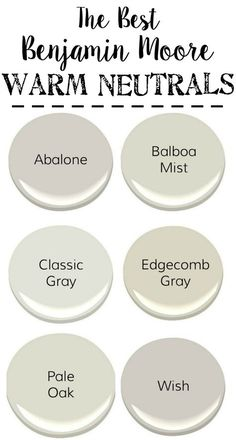 Best Neutral paint colors by Benjamin Moore. Cement paint floor paint Balboa Mist with cool grays, warm grays, whites, and darks to create a designer palette for your home. Paint Colors For Living Room, Paint Colors For Home, House Colors, Paint For A Dark Room, Kitchen Paint Colours, Neutral Kitchen Colors, Foyer Paint Colors, Best Bedroom Paint Colors, Office Paint Colors