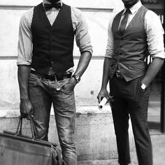 Love the idea with jeans- jeans with a shirt and vest and tie.. not bad ;-)
