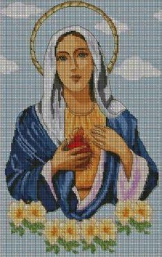 Hobby lavori femminili - ricamo - uncinetto - maglia: Schema punto croce -  Madonna delle lacrime