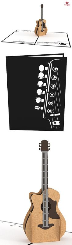 Surprise a music lover with a paper art acoustic guitar inside a unique pop up card. Perfect blank card for any occasion.