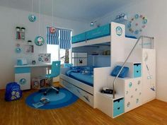 kids bedroom bedroom interior teens bedroom white bunk beds and white study table with blue chair on blue rug in doraemon themed bedroom fascinating decorating ideas for boys bedrooms Modern Bunk Beds, Cool Bunk Beds, Bunk Beds With Stairs, Twin Bunk Beds, Kids Bunk Beds, Modern Bedroom, Tween Beds, Bedroom Simple, Play Beds