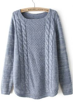 Vogue Round Neck Knitting Wool Pullovers for Woman