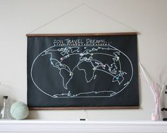 Chalkboard map (map painted on. draw on your travel dreams with chalk) World Map Travel, Travel Maps, Chalkboard Fabric, Chalk Holder, Map Globe, Wall Maps, Rustic Nursery, Travel Gifts, Inspired Homes
