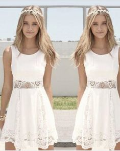 White Lace Homecoming Dresses Scoop Neck Sleeveless A Line Party Prom Dresses For Gowns Custom Made Prom Girl Dresses, High Low Prom Dresses, Lace Homecoming Dresses, Prom Dresses For Teens, Prom Party Dresses, Modest Dresses, Pretty Dresses, Sexy Dresses, Evening Dresses