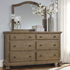 Wayfair Gean 6 Drawer Double Dresser with Mirror