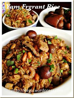 INTRODUCTION Yam rice is a fragrant rice usually served with Bakuteh (Pork Rib Tea or 肉骨茶)and I can't recall if my late mum have ever prepared it. However, it was one of my favourite dish whe… Claypot Rice Recipe, Hakka Recipe, Sticky Rice Recipes, Rice Cooker Recipes, Malaysian Cuisine, Malaysian Recipes, Asian Recipes, Ethnic Recipes, Glutinous Rice