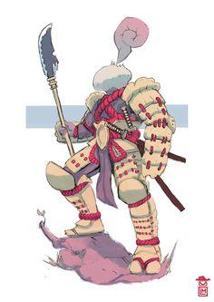 Perlato - Supreme Mushroom Samurai, Michael Loos on ArtStation at https://www.artstation.com/artwork/perlato-supreme-mushroom-samurai