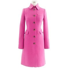 Pre-owned J.crew Metro Trench Coat ($172) ❤ liked on Polyvore featuring outerwear, coats, bright pink, j.crew, j crew coat, slim coat, pink coat and pink trench coat
