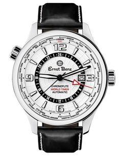 Ernst Benz Chronoflite World Timer GMT White Dial 47mm Men's Watch GC10852