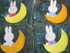 naar aanleiding van het verhaal 'Nijntjes droom' stempelen van de maan, kleuren van Nijntjes kleed, schilderen met foamkwast van de nacht. Theo Van Doesburg, Kids Rugs, Symbols, Art, De Stijl, Art Background, Kid Friendly Rugs, Kunst, Performing Arts