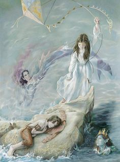 Wendy leaves Peter Pan holding on to a kite. Mermaids cicrle Peter Pan. Coloured Pencil on Paper by Steve Hutton.