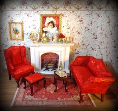 NEW DOLLHOUSE PARLOR SCENE, QUEEN SOFA & CHAIR, JAMESTOWN FIREPLACE, ACCESSORIES