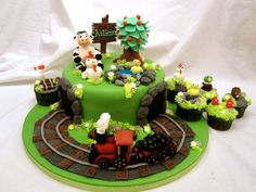 Steam train with country theme cake - by elli @ CakesDecor.com - cake decorating website