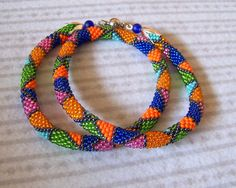 Multicolor  Triangles  Beaded Crochet Necklace by lutita on Etsy, $65.00