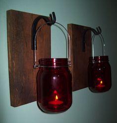 RED Mason Jars Hanging LANTERN SET Pair on Wood Board / Wrought iron hooks / Wall Sconce Rustic Lantern Bathroom Bedroom Decor Wall Decor by RusticPleasures on Etsy