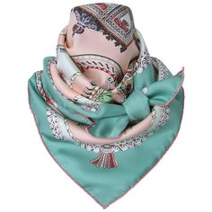 Hermes Silk Scarf Paperoles Horses Claudia Mayr Green Pink 90 cm | From a collection of rare vintage scarves at https://www.1stdibs.com/fashion/accessories/scarves/