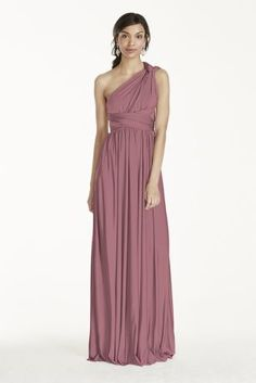 The options are endless in this versatile and chic convertible jersey dress!  Floor length jersey sheath dress can be styled in endless ways.  Fora truly unique bridal party, your bridesmaids can each wear this dress differently!  Style options include: Halter, knotted tank, twist back, cap sleeve, one shoulder and more!  Not lined. Imported polyester. No zipper. Dry clean only. SEE HOW TO STYLE IT