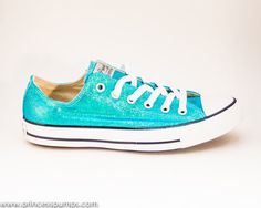 Comfy  Shoes for the wedding Mediterranean Blue Glitter Canvas All Star Lo Top by princesspumps