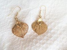 Gold Leaf Earrings Vintage Gold Plated Leaves by JypsyJewels