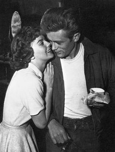 "Natalie Wood and James Dean on the set of ""Rebel Without a Cause""."