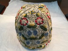 Embroidered men's cap from Thomas Trevelyon pattern. Made by Erin Harvey Moody. Permanent Collection, Folger Shakespeare Library
