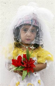 ISLAM BRIDE: Palaestine child bride---inspiration for social change. NOT IN AMERICA - Call it what it actually is EVIL - they are pedophiles in the name of religion . Sharia Law, Oldest Child, Social Change, 40 Years Old, Human Rights, We The People, Equality, Marriage, Pure Products