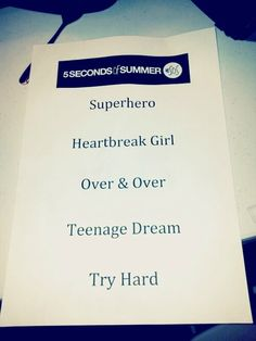 5SOS song list for the TMH tour