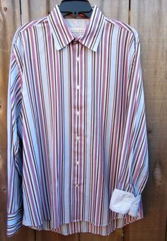 7e64816b15e4b Details about Equilibrio Modern XL Long Sleeve Light Blue Brown Pink White  Stripe Long Sleeve