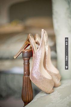 Glittering gold Christian Louboutin wedding shoes   VIA #WEDDINGPINS.NET