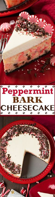 31 Delicious Things To Cook In December/Holiday recipes Christmas Peppermint Bark Cheesecake - this is a Christmas MUST! It is perfectly pepperminty and lusciously rich and creamy! The perfect blend of peppermint bark flavors with cheesecake. Holiday Baking, Christmas Desserts, Christmas Treats, Christmas Bark, Christmas Cheesecake, Thanksgiving Treats, Christmas Drinks, White Christmas, Christmas Time