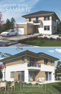 Projekt niewielkiego piętrowego domu na wąską działkę. Charakteryzuje się przestronnym i dobrze rozplanowanym wnętrzem. Ze względu na przewidywaną szerokość działki, większość pomieszczeń jest otwarta w kierunku ogrodu. Warto zwrócić uwagę na dużą spiżarnię w sąsiedztwie kuchni, wygodne schody na piętro, a także organizację pomieszczeń na piętrze. Architectural Design House Plans, Architecture Design, Villa Design, House Design, Home Fashion, Custom Homes, Samba, Sweet Home, House Styles