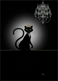 Cat & Chandelier by Jane Crowther. Bug Art greeting cards.