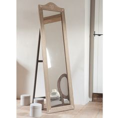 Miroir psyché en bois de paulownia H 170 cm CAMILLE