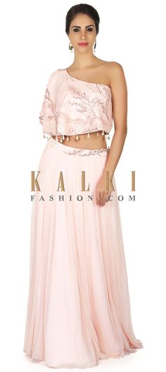 ac6c68806bb Light pink skirt with one shoulder cape in resham and pearl only on Kalki