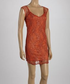 Look what I found on #zulily! Rust Lace Scoop Neck Dress #zulilyfinds
