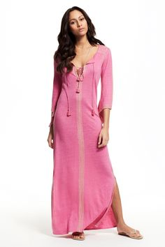Calypso Cares ends tonight! Last chance to donate and save 20%. Pink maxi caftan.