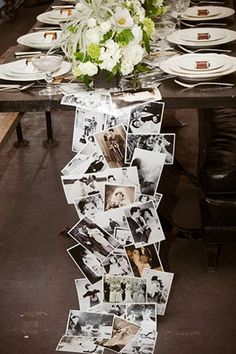 Creating the photograph table runner will take time but will be well worth all your hard work. Use copied photos from your own family album or create a collection of iconic brides that inspire you.   See more trending table runners for every wedding here: http://www.mywedding.com/articles/9-trending-table-runners-for-weddings/