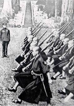 Japanese monks in Echizen Nagahira Temple involved in military training.