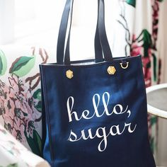 """Aint she sweet? Introducing the """"Hello, Sugar"""" #VanderbiltTote and #Sweatshirt! Link to tote in profile, folks! Xo"""