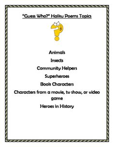 Lesson Plans And Writing Sheets To Help Students Write A Booklet Of Guess Who