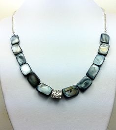 Blue Mother Pearl Necklace Made With A Unique Dark Silver Square Beads Sterling Chain